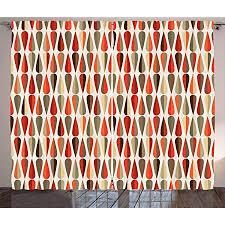 abakuhaus geometrisch rustikaler vorhang 70er jahre retro stil wohnzimmer universalband gardinen mit schlaufen und haken 280 x 260 cm mehrfarbig