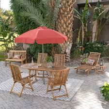 8 Person Outdoor Table by Coral Coast Summer Acacia Wood 8 Piece Patio Dining Set Hayneedle
