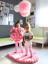 Tulle Pom Pom Decorations by Heart Shaped Decoration Made Of Most Fluffy Pom Poms Rug And