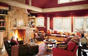 I Have Always Loved This Living Room It Is An Eddie Bauer Cabin Red Valspar Paint Image