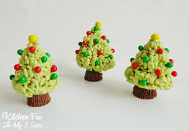 We Got A Big Box Of Candy From Sweetworks Wanted To Make Cute Christmas Treat Using Them Created These Rice Krispies Treats Trees Had SO Much