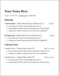Graduate School Education No Experience Resume