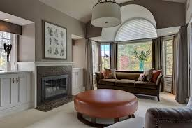 Living Room With Fireplace And Bay Window by Silhouette Blinds Bedroom Transitional With Arched Window Art