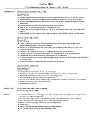 100 Example Of High School Resume Samples Velvet Jobs