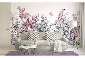 livingwalls fototapete designwalls flower painting grau rosa weiß dd118800 3 50 m x 2 55 m