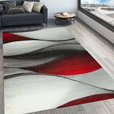 designer teppich modern wohnzimmer teppiche kurzflor in grau rot