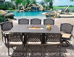 nassau 42x84 rectangle outdoor patio 9pc dining set for 8 person