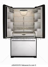 Picture Empty Stainless Steel Refrigerator Doors Open Fotosearch Ylcnm9 Clipart