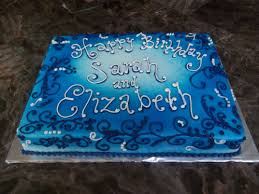 Blue Scroll and Airbrush Birthday Cake in Buttercream