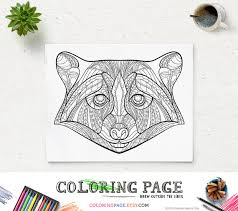 Printable Coloring Pages Raccoon Head Animal Page Instant Download Adult Book Zen Mandala Art