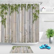 grün bambus blätter bambus floß bad dusche vorhänge nicht
