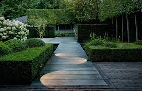 Modern Pathway Walkway With Bamboo Led Path Lighting Landscape