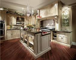 Kitchen Elegant French Country Wall Decor With Espresso Oak Hardwood Floor And White Island Plus Black Top Granite