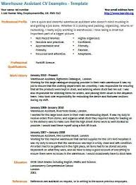 Warehouse Assistant CV Example