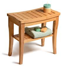 Bamboo Shower Seat Bench Bathroom Spa Bath Organizer Stool With