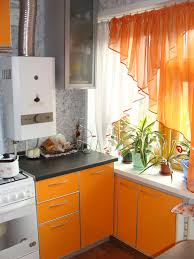 Orange Kitchen Curtains And Design White Trends Picture Curtain