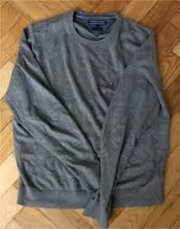 Tommy Hilfiger Rundhalspullover Pullover L Grau Pima Cotton Cashm