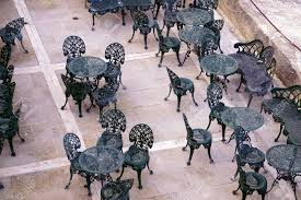 100 Small Wrought Iron Table And Chairs Black Of An Outdoor Restaurant Stock