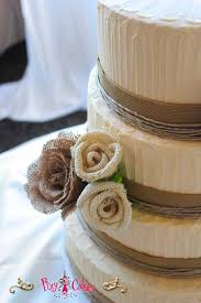 Wedding Cake 4 Tier Rustic Love Burlap Flowers Buttercream Closeup Pixy Cakes