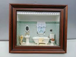 puppenstube badezimmer wandbild schaukasten diorama glas