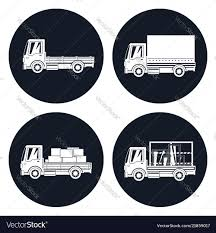 100 Different Trucks Small Trucks With Different Loads Icons Royalty Free Vector