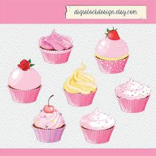 Pink Cupcake Clipart Food Illustration by digistockdesign