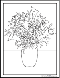 Lilies Daisies Zinnias Flower Coloring Book Pages