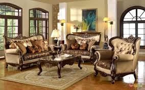 Sharp Classic Style Traditional Formal Living Room Furniture Set Beige Brown Cheap Pine