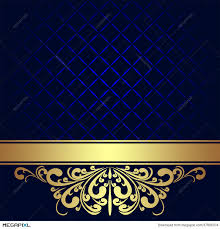 Navy Blue Background With Golden Royal Border