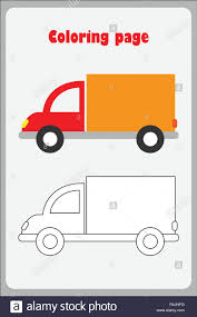 100 Paper Truck In Cartoon Style Coloring Page Education Paper Game For The