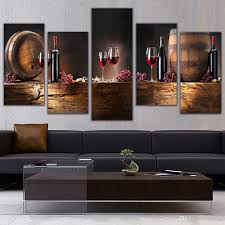2017 5 panel wall art fruit grape red wine glass picture art for