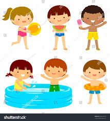 Young Kids Swimsuits Playing Beach Pool Stock Vector