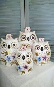 Owl Cookie Jar Set Vintage 70s Kitchen By BallyClareCottage 6500