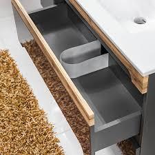 waschtisch unterschrank ohne waschbecken 60cm hochglanz graphit mit wotaneiche lajas 56 b x h x t ca 60 x 57 x 45cm