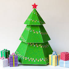 DIY Christmas Tree Gift Boxes Printable A4 Size Template Holiday Centerpiece