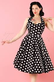 500 Vintage Style Dresses For Sale 50s Retro Halter Meriam Swing Dress In Polka Black
