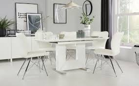 100 White Gloss Extending Dining Table And Chairs Florence High With 6 Lucca