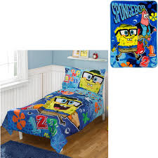 Spongebob Bathroom Decor Walmart by Bonus Blanket With Nickelodeon Spongebob 4pc Toddler Bedding Set
