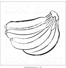 Vector Clip Art Of A Coloring Page Outline Banana Bunch