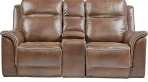 Brown Leather Power Reclining Console Loveseat Transitional