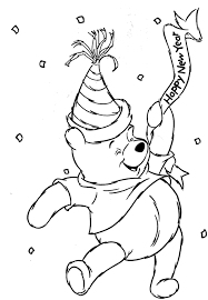 Winnie The Pooh Happy New Year Coloring Page