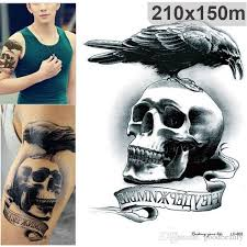 Halloween Skull Birds Designs Temporary Tattoo Stickers Waterproof Fake Tattoos 3d Body Art Sleeve Diy 2115cm Homemade Kids