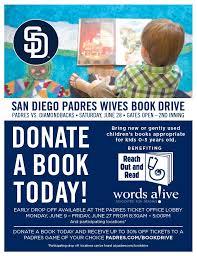 San Diego Padres Wives Book Drive  Padres Membership News