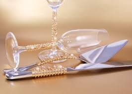 Stunning Wedding Cake Knife And Server Sets Combined With Stainless Serration Luxury Gold