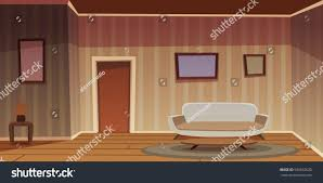Cartoon Illustration Of The Retro Living Room With Furniture