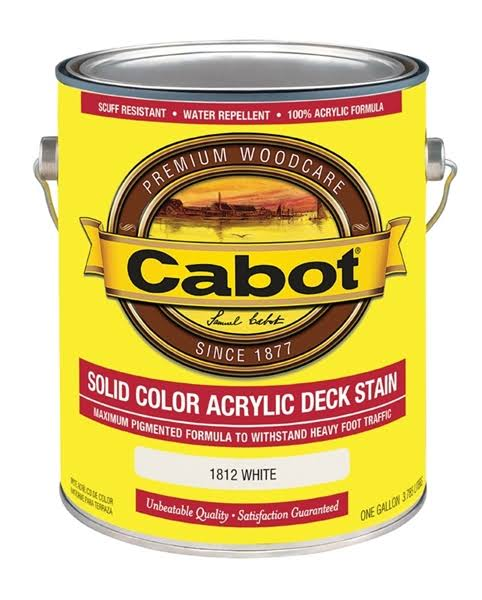 Cabot Solid Color Decking Acrylic Stain With Teflon - 1820 White