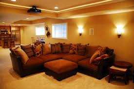 living room brilliant brown sectional sofa presented below