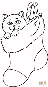 Click The Cat In Stocking Coloring Pages