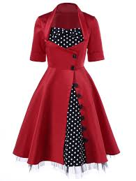 polka dot trim single breasted swing dress red xl in vintage