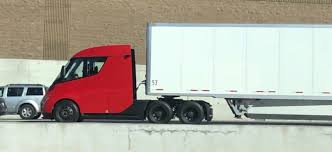 100 Semi Truck Pictures New Red Tesla Electric Truck Prototype Spotted In The Wild